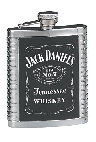 JACK DANIELS STAINLESS STEEL RIBBED HIP FLASK